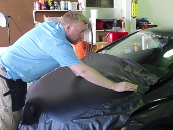 A Fun Carbon Fiber Hood Wrap Installation